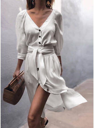 Solid 3/4 Sleeves A-line Casual/Vacation Midi Dresses
