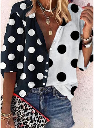 PolkaDot V-Neck 3/4 Sleeves Button Up Casual Shirt Blouses