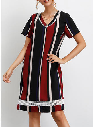 Color Block Short Sleeves Shift Knee Length Casual/Vacation T-shirt Dresses