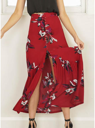 Polyester Print Floral Maxi High-Slit Skirts Pleated Skirts A-Line Skirts