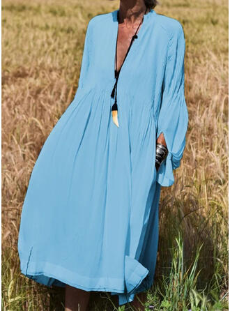 Solid Long Sleeves Shift Casual/Vacation Midi Dresses