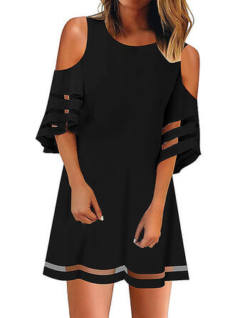 Solid 3/4 Sleeves/Cold Shoulder Sleeve Shift Above Knee Little Black/Casual/Elegant Dresses