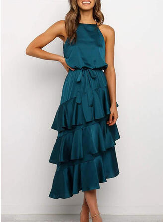 Solid Sleeveless A-line Party Midi Dresses