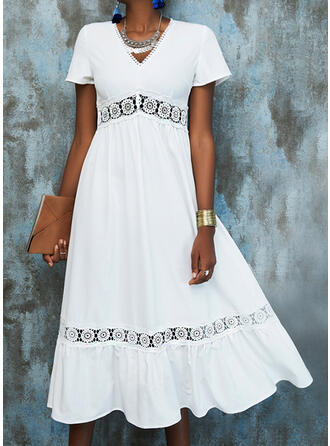 Lace/Solid Short Sleeves A-line Skater Casual/Vacation Midi Dresses