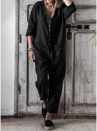 Solid V-Neck 3/4 Sleeves Casual Jumpsuit