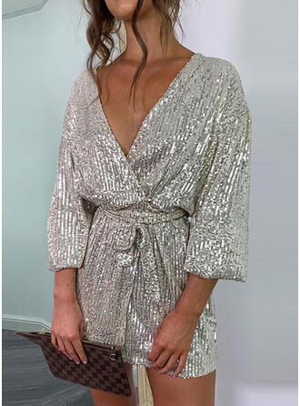 Solid Sequins 3/4 Sleeves Dropped Shoulder Sheath Above Knee Party Wrap Dresses