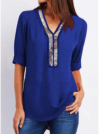 Sequins V-Neck 1/2 Sleeves Casual Blouses