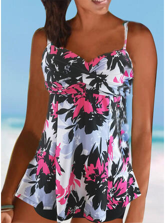 Push Up Tropical Print Strap V-Neck Sports Casual Tankinis Swimsuits