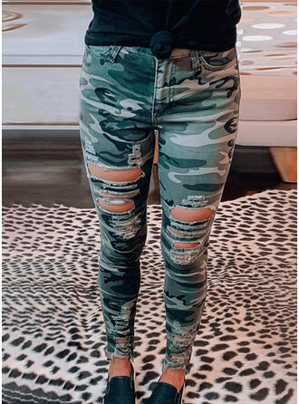 Ripped Camouflage Long Sexy Skinny Denim & Jeans
