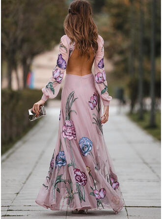 Print/Floral Long Sleeves/Lantern Sleeve A-line Sexy/Party Maxi Dresses