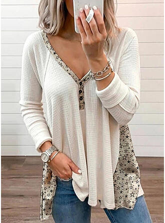 Print V-Neck Long Sleeves Button Up Casual T-shirts