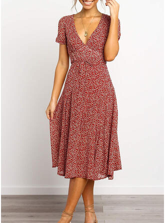 Print Short Sleeves A-line Casual Midi Dresses