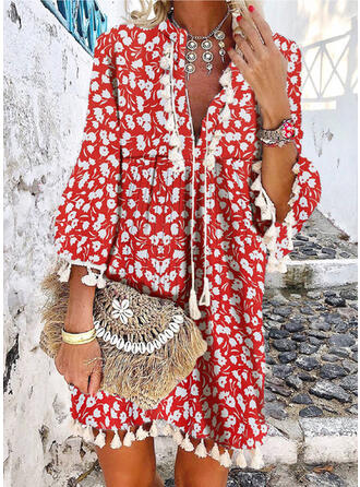 Print/Floral 3/4 Sleeves/Flare Sleeves Shift Above Knee Casual/Boho/Vacation Dresses