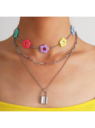 Fashionable Sexy Vintage Alloy With Acrylic Flowers Women's Ladies' Necklaces 3 PCS