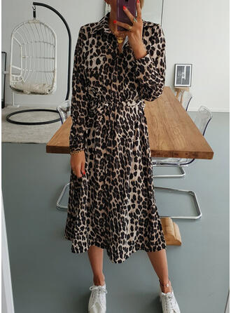 Leopard Long Sleeves A-line Shirt/Skater Casual Midi Dresses