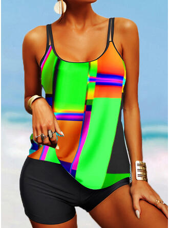 Colorful Print Strap U-Neck Plus Size Casual Tankinis Swimsuits
