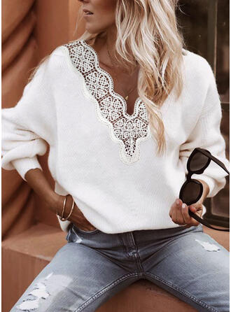 Solid Chunky knit Lace V-Neck Casual Sweaters