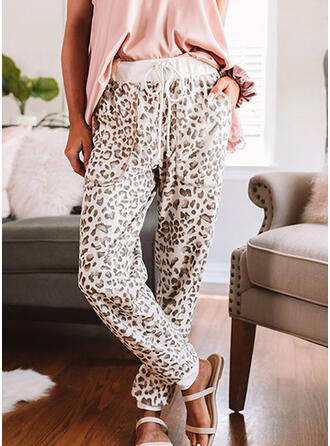 Leopard Drawstring Casual Sporty Pants
