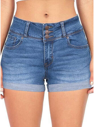 Pockets Shirred Plus Size Above Knee Sexy Denim Shorts