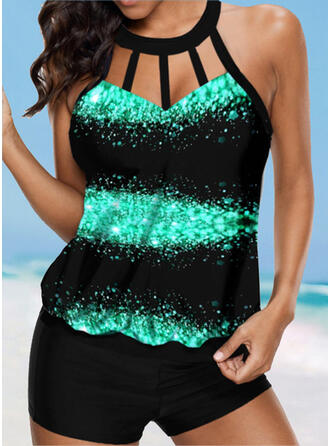 Splice color Hollow Out High Neck Colorful Eye-catching Casual Tankinis Swimsuits
