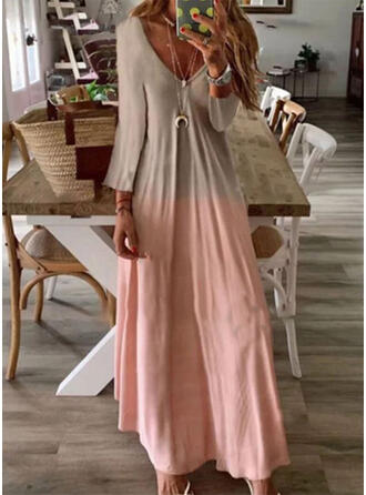 Tie Dye Long Sleeves A-line Casual Maxi Dresses