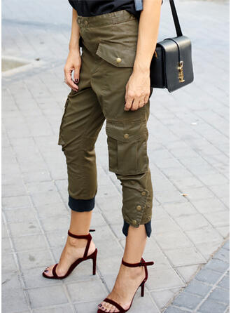 Solid Cropped Casual Plus Size Pocket Button Pants