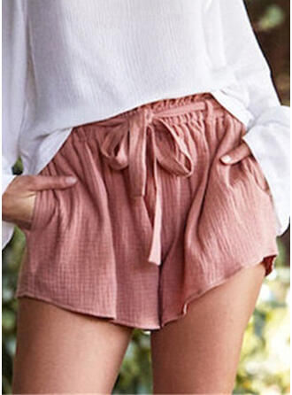 Pockets Shirred Plus Size Above Knee Boho Casual Shorts