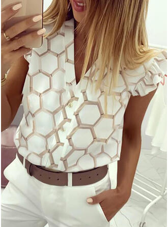 Geometric Print V-Neck Cap Sleeve Button Up Casual Shirt Blouses