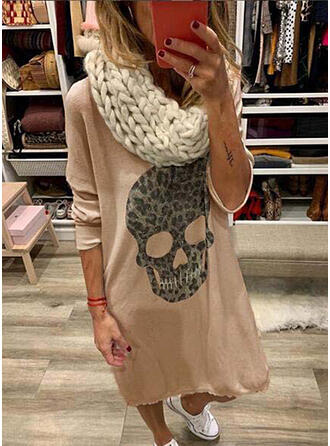 Print/Leopard Long Sleeves Shift Knee Length Casual Dresses