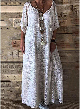 Lace/Solid 3/4 Sleeves Shift Casual/Vacation Maxi Dresses