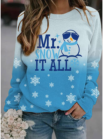 Print Color Block Figure Round Neck Long Sleeves Christmas Sweatshirt