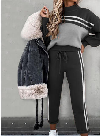 Striped Patchwork Casual Sporty Suits