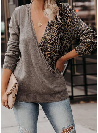 Color Block Leopard V-Neck Casual Sweaters