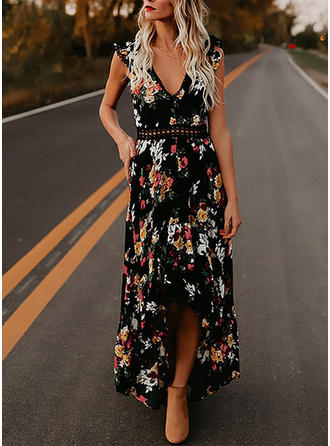Lace/Print/Floral Short Sleeves A-line Asymmetrical Sexy/Casual/Boho/Vacation Dresses