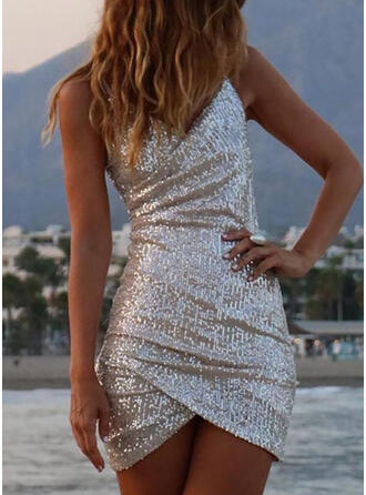 Sequins Sleeveless Bodycon Above Knee Little Black/Sexy/Party Dresses