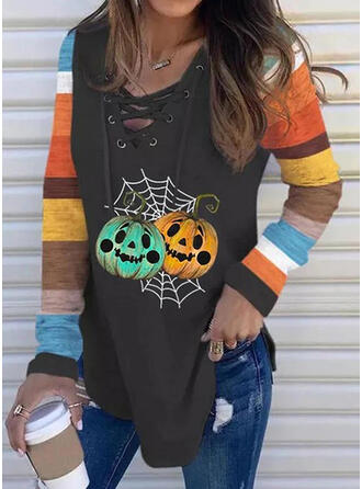 Color Block Print Round Neck Long Sleeves T-shirts