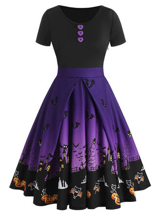 Color Block/Animal Print Short Sleeves A-line Knee Length Party/Halloween Skater Dresses
