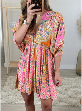 Print 1/2 Sleeves A-line Above Knee Casual/Boho/Vacation Dresses