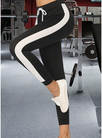 Patchwork Shirred Drawstring Cropped Casual Sporty Yoga Pants