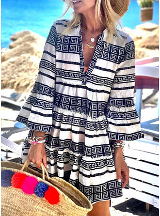 Print/Striped 3/4 Sleeves/Flare Sleeves Shift Above Knee Casual/Boho/Vacation Dresses