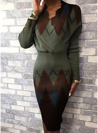 Color Block Geometric Print V-Neck Casual Long Tight Sexy Sweater Dress
