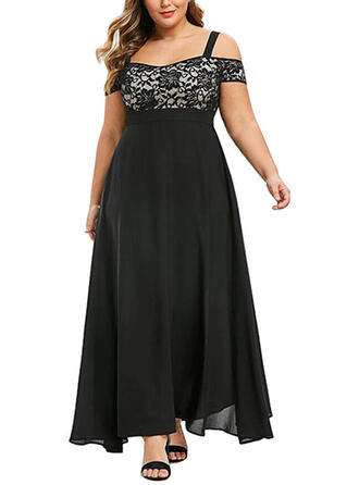 Lace Short Sleeves/Cold Shoulder Sleeve A-line Party/Elegant Maxi Dresses