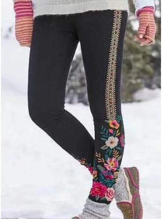 Floral Plus Size Casual Skinny Leggings