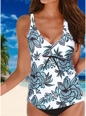Floral Print Strap V-Neck Vintage Fresh Plus Size Tankinis Swimsuits
