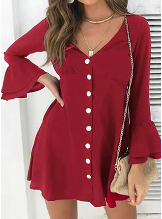 Solid Long Sleeves/Flare Sleeves A-line Above Knee Casual/Elegant Dresses