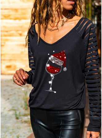 Christmas Sequins V-Neck Long Sleeves Casual Blouses