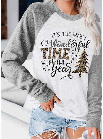 Color Block Figure Round Neck Long Sleeves Christmas Sweatshirt