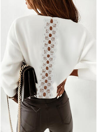 Solid Lace Round Neck Long Sleeves Dropped Shoulder Elegant Blouses