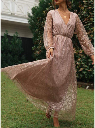 Sequins Long Sleeves A-line Casual/Vacation Maxi Dresses