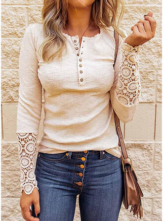 Solid Lace Round Neck Long Sleeves Button Up Casual Blouses
